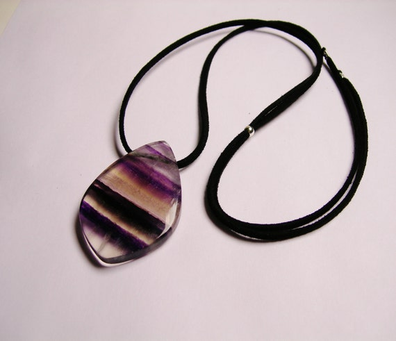 Natural Genuine Rainbow fluorite gemstone pendant  with Suede cord necklace