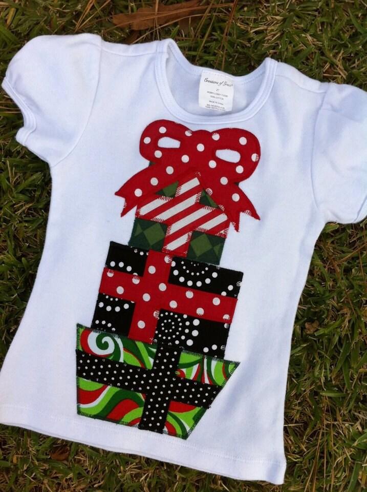 Girls Or Boys Christmas Short Sleeve Applique Shirt