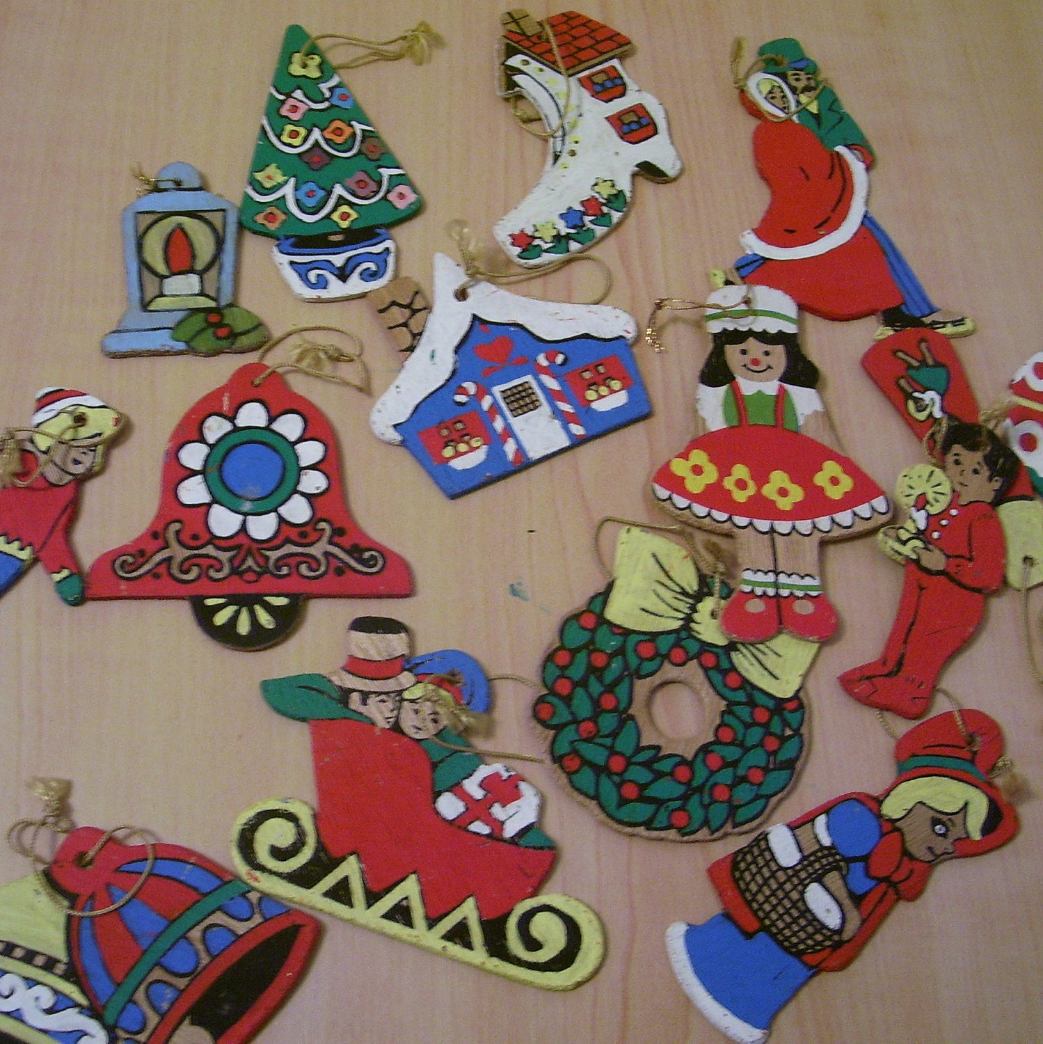 Wooden christmas ornaments paint by number by thenuthatchvintage