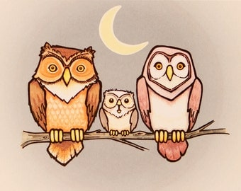 Owl Night Life - Baby Shower Card