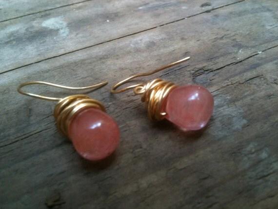 Liz Earrings / Teardrop Cherry Quartz & Gold Wire