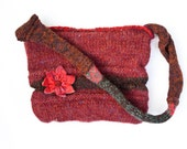 Wool felted bag with red felted flower