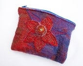 Felted coin purse - Embroidered felt with flower pattern