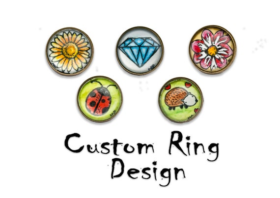 Custom ring - Hand painted ring - Summer jewelry - OOAK wearable art - personalized