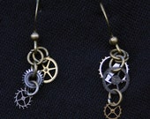 Steampunk Earrings - Dangle, Watch Gears, Bronze, Asymmetrical