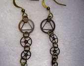 Steampunk Earrings - Dangle, Watch Gears, Silver, Bronze