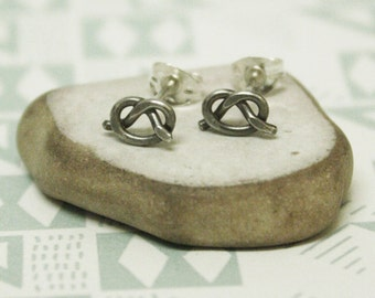 Forget Me Knot - Oxidised Sterling Silver Love Knot Earrings