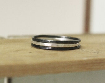 Posy Rings - Set of Three Sterling Silver Stacking Rings
