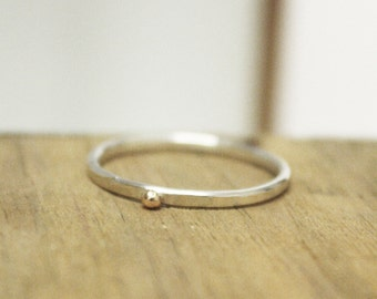 Posy Collection - Individual Sterling Silver & 9kt Gold Ball Stacking Ring