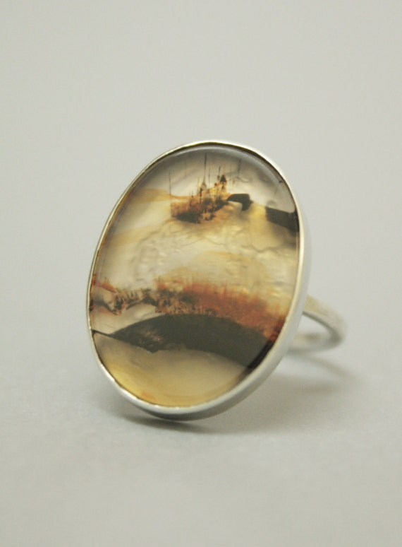 SALE Posy Ring - Large Dendritic Agate Oval Set Stirling Silver Ring