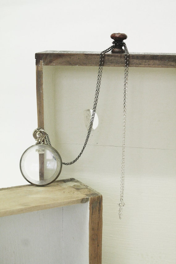Antique Lens Necklace - Long Sterling Silver Glass Lens Necklace