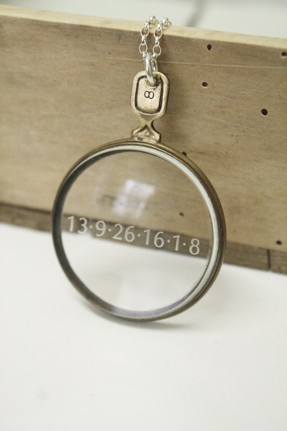 Antique Lens Necklace - Long Sterling Silver Engraved Glass Lens Necklace