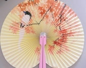 Vintage Asian Chinese Oriental Fan With Folding Handle, Made in the Peoples Republic of China