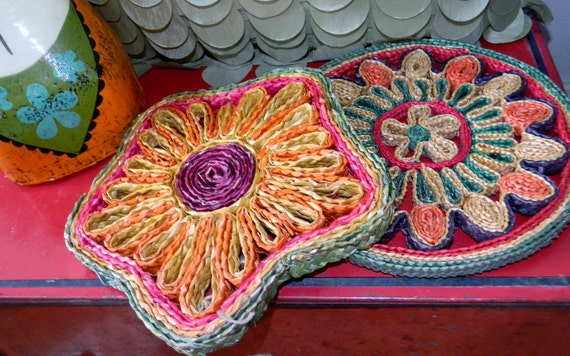 Set of Two Hot Pads, Boho, Kitchen Decoration, Straw Hot Pads, Hippie, Colorful, Hippie