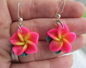 21mm Hawaiian Vibrant Pink Plumeria Frangipani Polymer Clay Dangle Earrings with a Yellow Center and Leaves