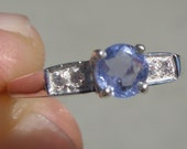 Natural .69 Carat Ceylon Sapphire & Diamond Ring Solid 925 Sterling Silver