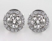Untreated Natural .59 Carat Diamond Earrings 14kt Solid Gold w/ Screw Backings - bluefirejewelry