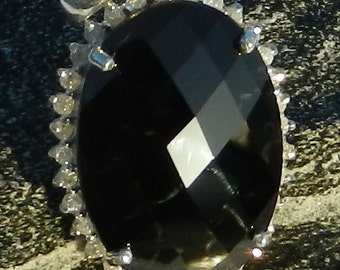 Natural 22.45 Carat Black Spinel & Diamond Pendant 925 Sterling Silver