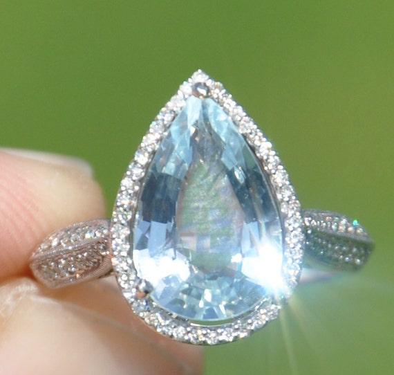 GIA Certified Unheated Estate 3.40 Carat Aquamarine & Diamond Ring 14kt Solid Gold / Appraisal