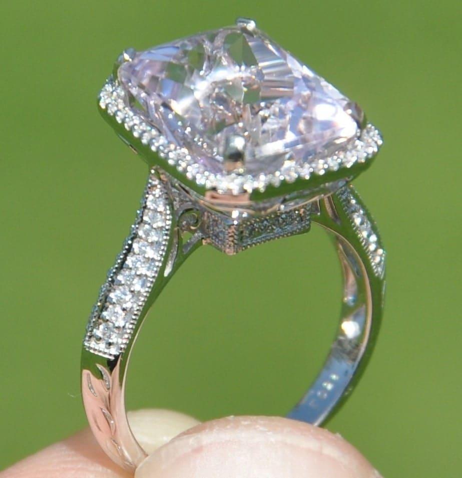 gia certified untreated 9 30 ct kunzite  u0026 diamond ring 18kt