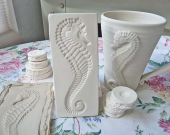 Clay Sprig Seahorse Pottery Press Mold Relief Mold or Sprig Mold Bisque Clay for Ceramic Decoration and Texture White