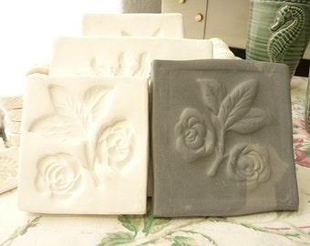 Clay Stamp Rose Flower- Press Mold Relief Mold or Sprig Mold Bisque Clay Push Mold for Ceramic Decoration and Texture