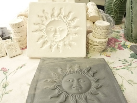 Clay Sprig Sun Face Pottery Press Mold Relief Mold or Sprig Mold Bisque Clay Sprig for Ceramic Decoration and Texture