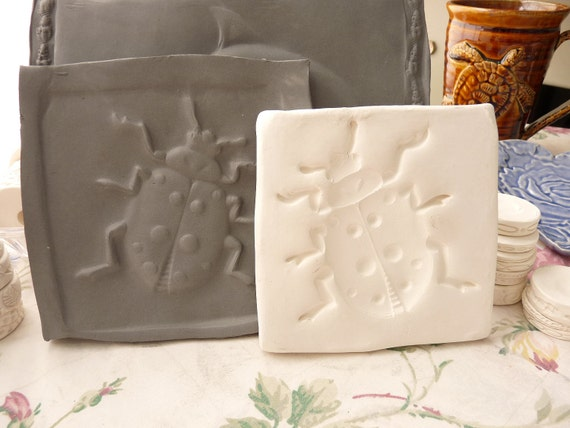 Clay Stamp Lady Bug Pottery Press Mold Relief Mold or Sprig Mold Bisque Clay Stamp for Ceramic Decoration and Texture