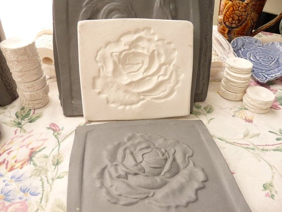 Clay Cabbage Rose Pottery Press Mold Relief Mold or Sprig Mold Bisque Clay Stamp for Ceramic Decoration and Texture