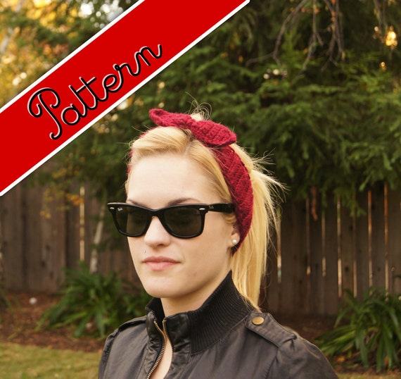 Crocheted Rosie the Riveter WWII Headband Pattern PDF