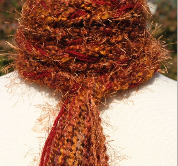 Hand Knit-Crochet Scarf, Skinny, Extra Long - Wild Fire, Cranberries, Copper.