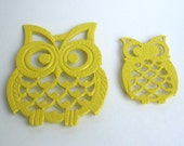 Yellow Owl Trivet Coasters- Mama and Baby Bird Pot Holders