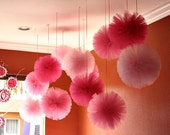 Tulle pom poms, set of 12. for weddings, party decorations and centerpieces