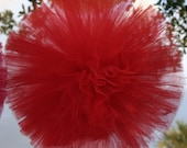 Red Tulle pom poms for weddings, kids parties, baby showers and so much more..
