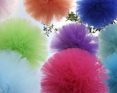 """Tulle pom poms....  set of 3 including a 18"""" (Jumbo) for nurseries"""