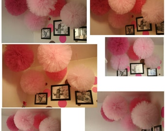 Tulle poms set of 12