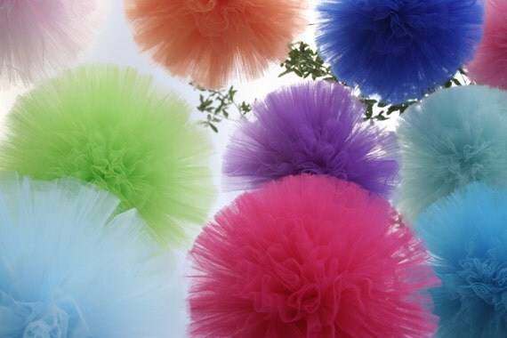 "Tulle pom poms....  set of 3 including a 18"" (Jumbo) for nurseries"