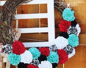 YOU PICK COLORS - Festive Blossoming Love Wreath
