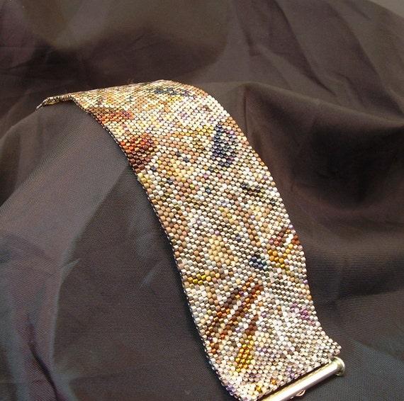 Multicolor Beadwoven Abstract Art Wide Bracelet