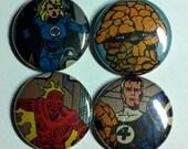 Fantastic Four Vintage Comic Book Button 4-Pack