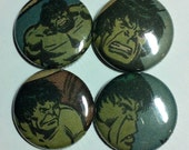 Incredible Hulk Vintage Comic Book Button 4-pack