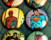Ultimate Super Hero Comic Book Button 6-pack