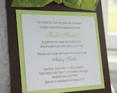 Brown, Green and White Handmade Baby Shower Invitation with Ribbon