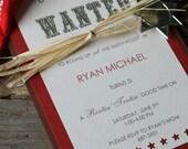 Handmade 'Wanted' Cowboy Birthday Invitations
