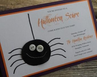 Handmade Halloween Party Invitation -Spider