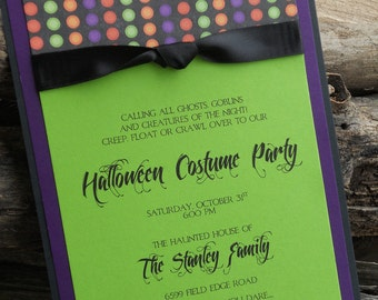 Brightly Colored Halloween Party Invitation