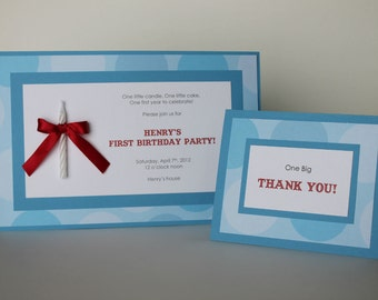 Adorable Little Boy 1st Birthday Invitation with Candle