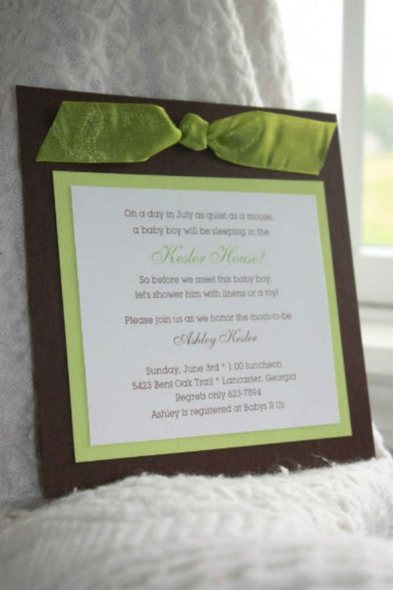 brown green and white handmade baby shower invitation with ribbon