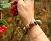 Beaded Felt Bracelet with Lampwork Glass Bead (golden brown / blue)