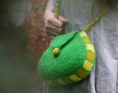 Felt Purse, Shoulder Bag (Spring Green)